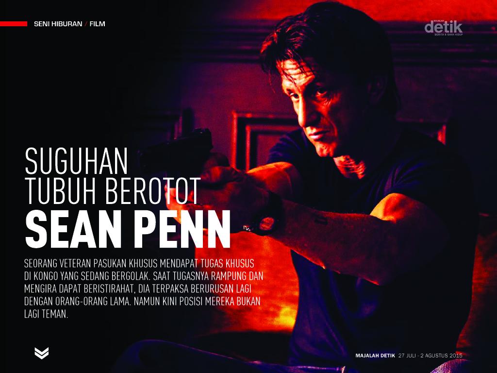 suguhan tubuh berotot sean penn, the gunman