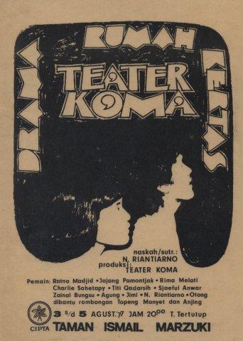 Poster Pementasan Rumah Kertas 1977 Foto Koleksi Teater Koma