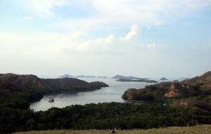 Pemandangan teluk dari puncak bukit di Pulau Rinca