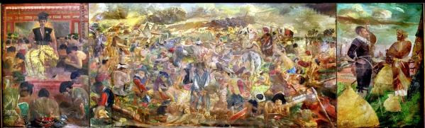 Di Pameran HMD hanya repro Pertempuran antara Sultan Agung dan Jan Pieterzoon Coen 1973 OC. 300 x 1.000